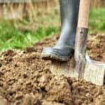 image of gardening digging with spade